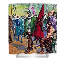Hernando Cortes Arriving In Mexico In 1519 Shower Curtain by English School