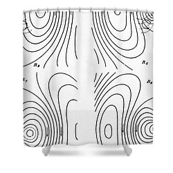 Hertzs Flux Lines Shower Curtain by Science Source