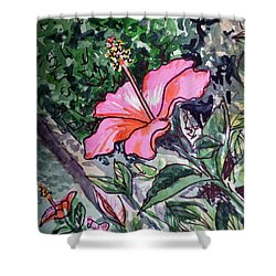 Hibiscus Sketchbook Project Down My Street  Shower Curtain by Irina Sztukowski