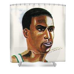 Hichan El Guerrouj Shower Curtain by Emmanuel Baliyanga