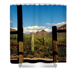 High Chaparral Old Tuscon Arizona  Shower Curtain by Susanne Van Hulst