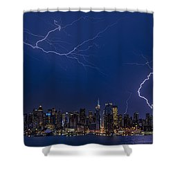 High Voltage In The  New York City Skyline Shower Curtain by Susan Candelario