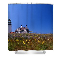 Highland Lighthouse Cape Cod Shower Curtain by Skip Willits