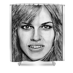 Shower Curtain featuring the drawing Hilary Swank In 2007 by J McCombie