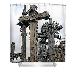 Hill Of Crosses 09. Lithuania Shower Curtain by Ausra Huntington nee Paulauskaite