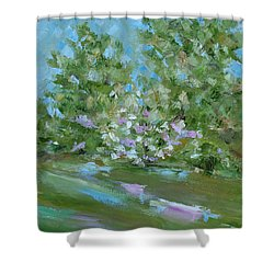 Shower Curtain featuring the painting Hilltop by Judith Rhue