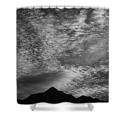 Himalayan Sky In Black And White Shower Curtain by Don Schwartz