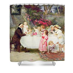 His First Birthday Shower Curtain by Frederick Morgan