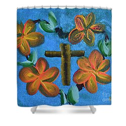 Shower Curtain featuring the painting His Love For Us by Donna Brown