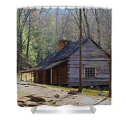 Historic Cabin On Roaring Fork Motor Trail In Gatlinburg Tennessee  Shower Curtain