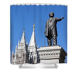 Historic Salt Lake Mormon Lds Temple And Brigham Young Shower Curtain by Gary Whitton