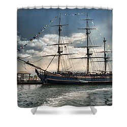 Shower Curtain featuring the photograph Hms Bounty Newport by Robin-Lee Vieira