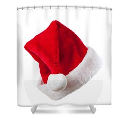 Ho Ho Ho - Santa Hat Shower Curtain by Amanda Elwell