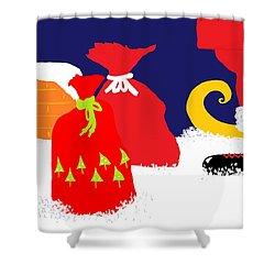Ho Ho Ho Shower Curtain by Barbara Moignard