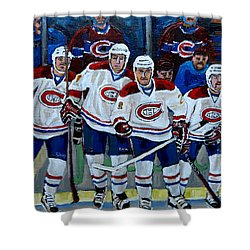 Hockey Art At Bell Center Montreal Shower Curtain by Carole Spandau