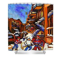 Hockey Art Boys Playing Street Hockey Montreal City Scene Shower Curtain by Carole Spandau