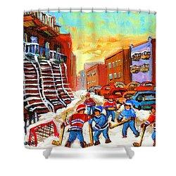 Hockey Art Kids Playing Street Hockey Montreal City Scene Shower Curtain by Carole Spandau