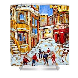 Hockey Art Montreal City Streets Boys Playing Hockey Shower Curtain by Carole Spandau
