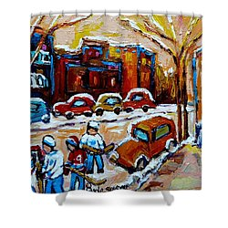 Hockey Art Montreal Staircases In Winter Shower Curtain by Carole Spandau