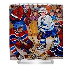 Hockey Game Scoring The Goal Shower Curtain by Carole Spandau