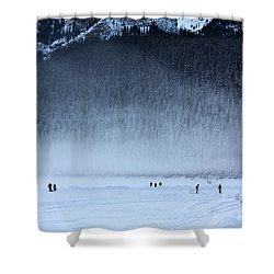 Shower Curtain featuring the photograph Hockey On Lake Louise by Alyce Taylor