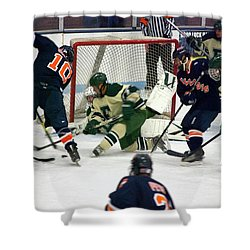 Hockey Two On Four Shower Curtain by Thomas Woolworth