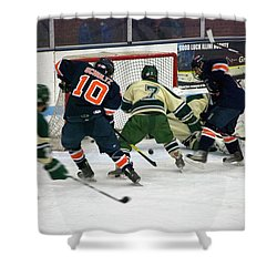 Hockey Two On Two Shower Curtain by Thomas Woolworth