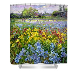 Hoeing Team And Iris Fields Shower Curtain by Timothy Easton