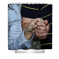 Holding Hands Shower Curtain by Carolyn Marshall