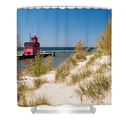 Shower Curtain featuring the photograph Holland Mi Lighthouse by Larry Carr