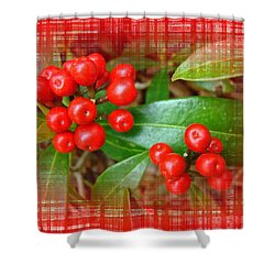 Holly Berries Shower Curtain by Mother Nature