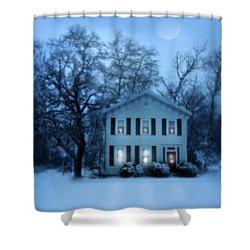 Home On A Wintery Evening Shower Curtain by Jill Battaglia