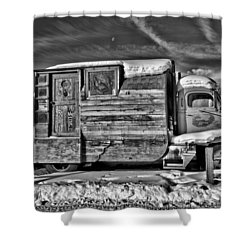 Home On Wheels - Bw Shower Curtain by Christopher Holmes