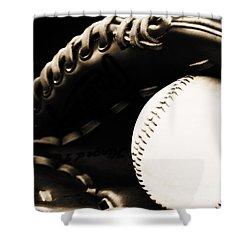 Home Run Shower Curtain by Lj Lambert