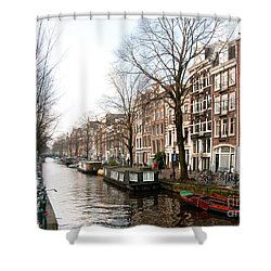 Shower Curtain featuring the digital art Homes Along The Canal In Amsterdam by Carol Ailles