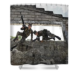 Honduran Army Soldiers Perform Building Shower Curtain by Stocktrek Images
