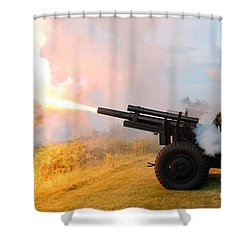 Honor Guard Members Fire A 105 Mm Shower Curtain by Stocktrek Images