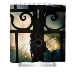 Hooded Figure By A Fire Shower Curtain by Jill Battaglia