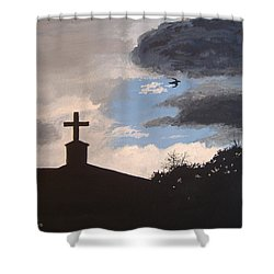 Shower Curtain featuring the painting Hope In The Storm by Norm Starks