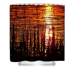 Horicon Marsh Sunset Wisconsin Shower Curtain by Steve Gadomski