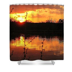 Horn Pond Sunset 8 Shower Curtain