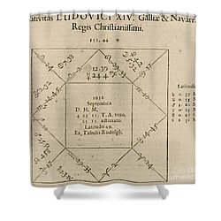 Horoscope Chart For Louis Xiv, 1661 Shower Curtain by Science Source