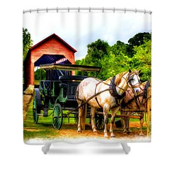 Horse And Buggy In Front Of Covered Bridge Shower Curtain by Dan Friend