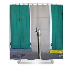 Shower Curtain featuring the photograph Horse Head Post With Green Doors by Alys Caviness-Gober