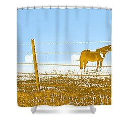 Horse Pasture Revblue Shower Curtain by Paulette B Wright