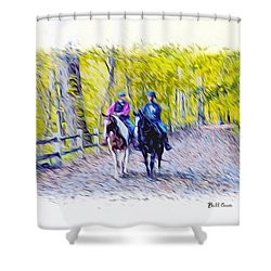 Horseback Riding  Shower Curtain by Bill Cannon