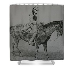 Shower Curtain featuring the drawing Horseman by Stacy C Bottoms