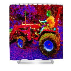 Shower Curtain featuring the photograph Hot Afternoon On A John Deere Tractor by George Pedro