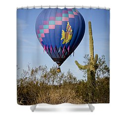 Hot Air Balloon Flight Over The Lush Arizona Desert Shower Curtain by James BO  Insogna