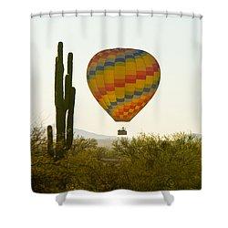 Hot Air Balloon In The Arizona Desert With Giant Saguaro Cactus Shower Curtain